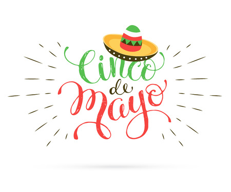 Illustration pour Funny Cinco de Mayo illustration with text. Mexican lettering with sombrero icon isolated on white background. - image libre de droit