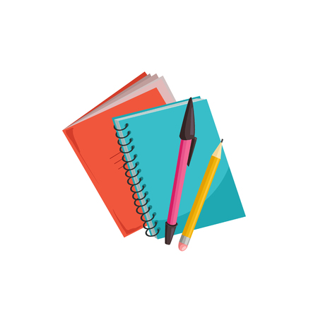 Illustration for Hand drawn notebooks with pens isolated on white background. Copybook vector illustration. - Royalty Free Image