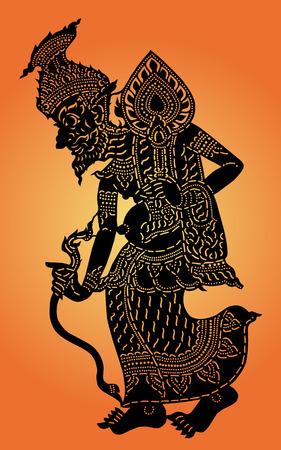 Illustration pour Hermit shadow puppet  Thai  Nang Talung  was one form of public entertainment in the south of Thailand  - image libre de droit