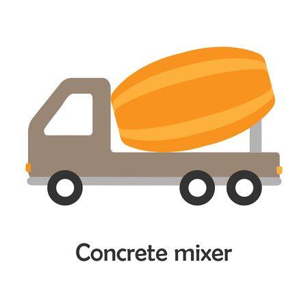 Illustration pour Concrete mixer in cartoon style, card with transport for kid, preschool activity for children, vector - image libre de droit