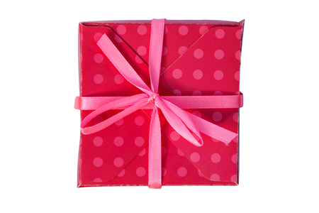 Photo for Red gift box isolated on white background. Top view - Royalty Free Image