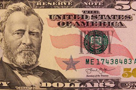 Foto de Macro shot of fifty american dollars bill - Imagen libre de derechos