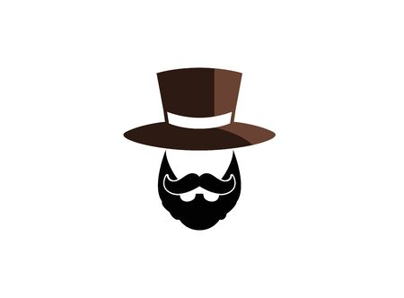Illustrazione per beard and mustache with a hat on the head for logo design illustration on a white background - Immagini Royalty Free