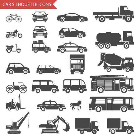 Illustration pour Cars and Vehicles Silhouette Icons Transport Symbols Set Vector Illustration - image libre de droit