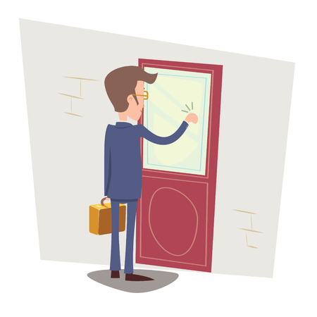 Illustration pour Oriented Happy Businessman with Briefcase Knocking at Customer Door on Stylish Background Retro Cartoon Vector Illustration - image libre de droit