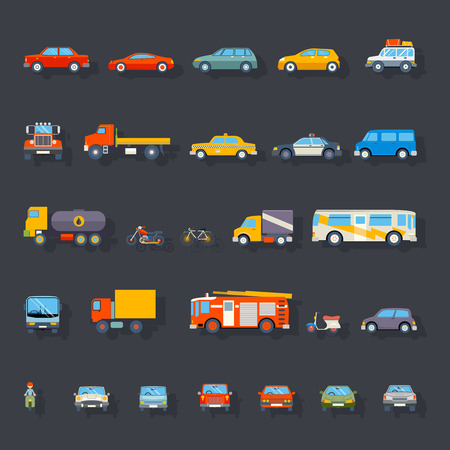 Ilustración de Stylish Retro Car Line Icons Isolated Transport Symbols Vector Illustration - Imagen libre de derechos