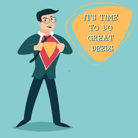 Happy Smiling Businessman Turns Superhero Suit under Shirt Icon on Stylish Background Retro Cartoon Design Vector Illustration