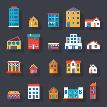 Ilustración de Modern trendy retro house street flat icons set vector illustration - Imagen libre de derechos