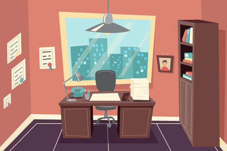 Illustration pour Stylish Business Working Office Room Background Desk City Window File Cabinet Retro Cartoon Design Template Concept Vector Illustration - image libre de droit
