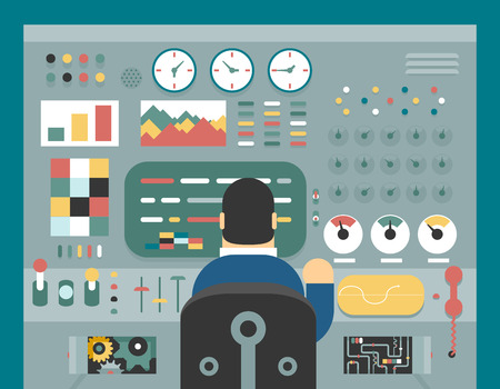 Illustration pour Scientist businessman work in front of control panel analysis production development study flat design concept illustration - image libre de droit