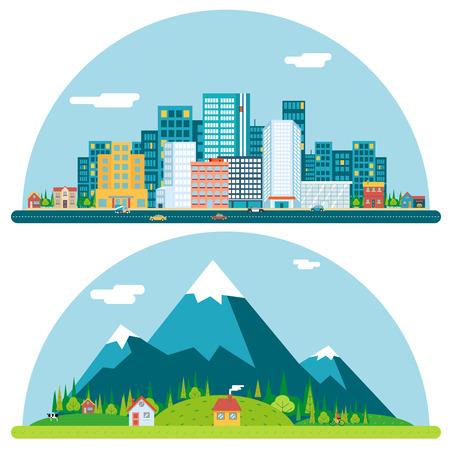Illustrazione per Spring Urban and Countryside Landscape City Village Real Estate Summer Day Background Flat Design Concept Icon Template Illustration - Immagini Royalty Free