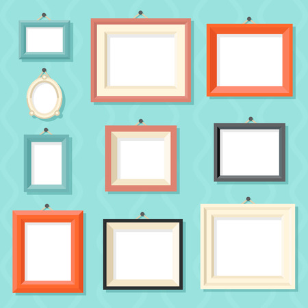 Illustration pour Vintage Cartoon Photo Picture Painting Drawing Frame Template Icon Set on Stylish Wall Background Retro Design Vector Illustration - image libre de droit