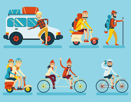 Illustration for Happy Smiling Man Geek Hipster Character with Car Traveler Backpack Schooter Bike Icon Travel Lifestyle Vacation Tourism and Journey Symbol Background Flat Design Template Vector Illustration - Royalty Free Image