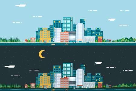 Illustration pour Day and night Urban Landscape City Real Estate Summer Background Flat Design Concept Icon Template Vector Illustration - image libre de droit