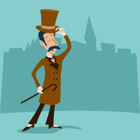 Illustration pour Vintage Great Britain Victorian Gentleman Businessman Cartoon Character Icon on Stylish English City Background Retro Design Vector Illustration - image libre de droit