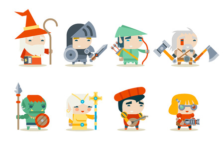 Illustration pour Fantasy RPG Game Character Vector Icons Set  - image libre de droit