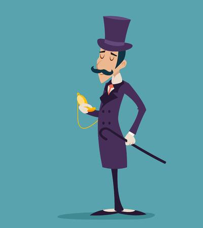Clock Time Vintage Great Britain Victorian Gentleman Businessman Cartoon Character Icon Stylish Background Retro Cartoon Design Vector Illustration