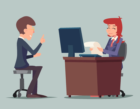 Illustration pour Task Conversation Job Interview Businessman at Desk Working on Computer Cartoon Characters Icon Stylish Background Retro Cartoon Design Vector Illustration - image libre de droit