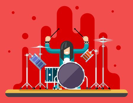 Illustration pour Drummer Drum Icons Set Hard Rock Heavy Folk Music Background Concept Flat Vector Illustration - image libre de droit