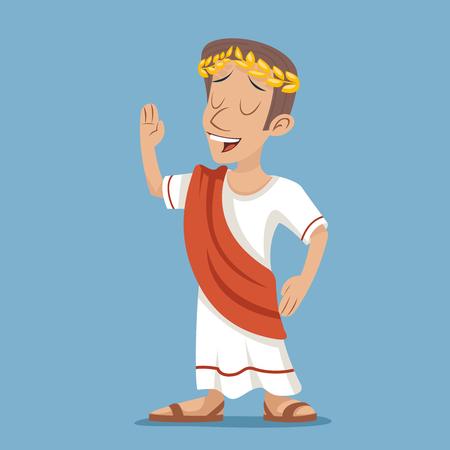 Greek Roman Retro Vintage Businessman Cartoon Character Icon Stylish Background Design Illustration