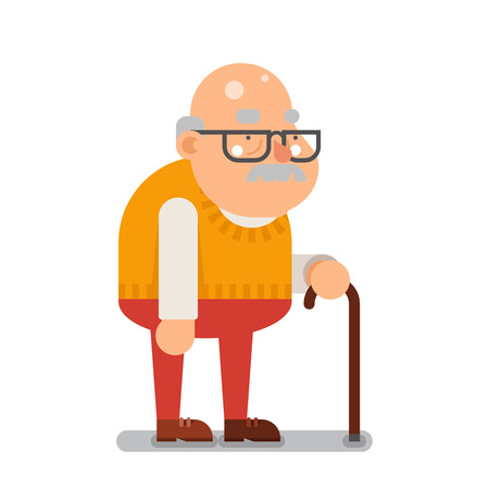Illustration for Grandfather Old Man Character Cartoon Flat illustration - Royalty Free Image