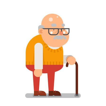 Illustration pour Grandfather Old Man Character Cartoon Flat illustration - image libre de droit