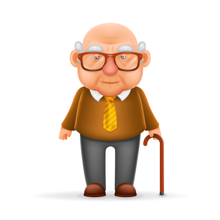 Illustration pour Old Man Grandfather Realistic Cartoon Character Design Isolated Vector Illustrator - image libre de droit