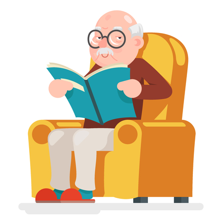 Illustration for Reading Old Man Character Sit Adult Icon Cartoon Vector Illustration - Royalty Free Image