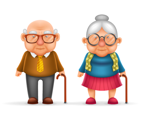 Illustration for Happy Cute Old Man Lady Grandfather Granny Realistic Cartoon Family Character Design Isolated Vector Illustration - Royalty Free Image