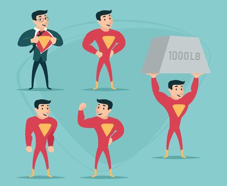 Businessman Turns in Superhero Suit under Shirt Happy Smiling Icon on Stylish Background Retro Cartoon Design Vector Illustration