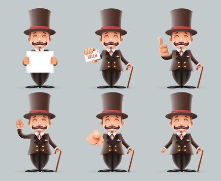 Victorian Gentleman Business Cartoon Characters Icons Different Actions Cute Man Set English 3d Isolated Background Retro Vintage Great Britain Design Vector Illustration