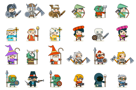 Ilustración de Lineart Male Female Fantasy RPG Game Character Vector Icons Set Vector Illustration - Imagen libre de derechos