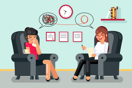 Illustration pour Psychologist consultation patient flat character design vector illustration - image libre de droit