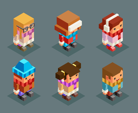 Ilustración de Lowpoly children winter clothes isometric boys girls christmas kids characters set new year 3d flat cartoon design vector illustration - Imagen libre de derechos