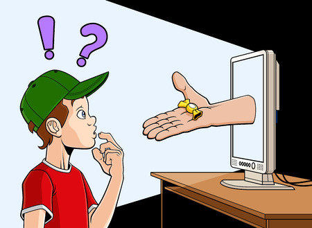 Illustration pour Conceptual illustration about dangers of internet for the children  An hand is coming out of a screen and offering a candy to a child     - image libre de droit