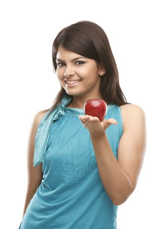 Healthy indian girl with fresh red apple