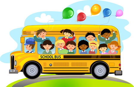 Illustrazione per Cartoon School Kids Riding a School Bus - Immagini Royalty Free