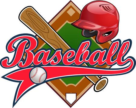 Illustration pour Baseball label. Baseball helmet Ball Bat field - image libre de droit