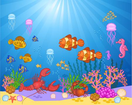 Ilustración de  illustration of sea. fish in the sea. beauty of the sea - Imagen libre de derechos