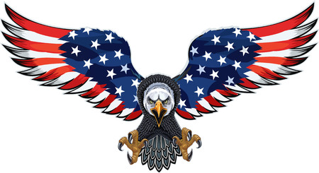 Illustration for American eagle with USA flags - Royalty Free Image