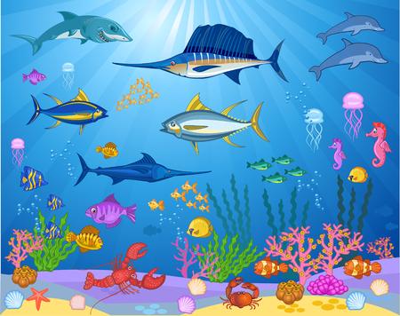 Ilustración de Fish swimming under the sea - Imagen libre de derechos