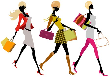 Illustration for shopping girls - Royalty Free Image