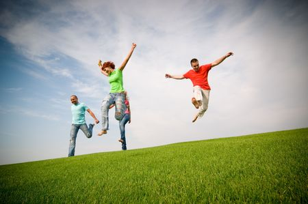Photo for young friends jumping and running - Royalty Free Image