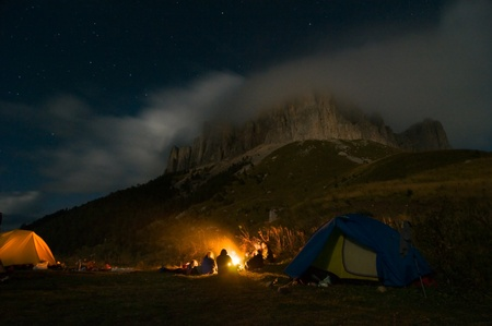 people camping in the wilderness