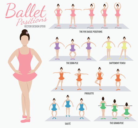 Illustration for Ballet positions girl cartoon action - Royalty Free Image