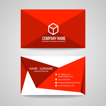 Illustration pour Business card vector graphic design  red triangle fold and box - image libre de droit