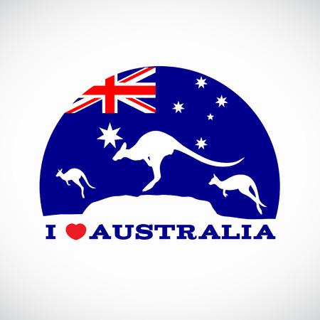 Illustration for I love Australia and  Kangaroo and australia flag - Royalty Free Image