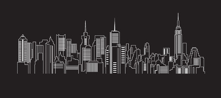 Illustration pour Cityscape Building Line art Vector Illustration design - image libre de droit