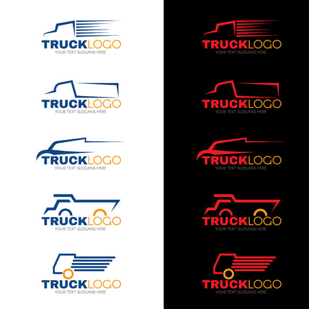 Photo for 5 style blue red and yellow truck vector design - Royalty Free Image