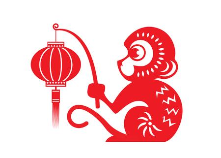 Red paper cut monkey zodiac symbol monkey holding lantern